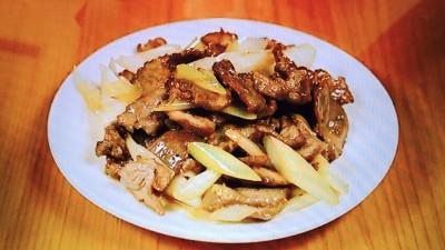 ラム肉と長葱塩炒め