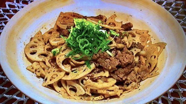 本田朋子の牛肉とレンコンのにんにくバター炒め