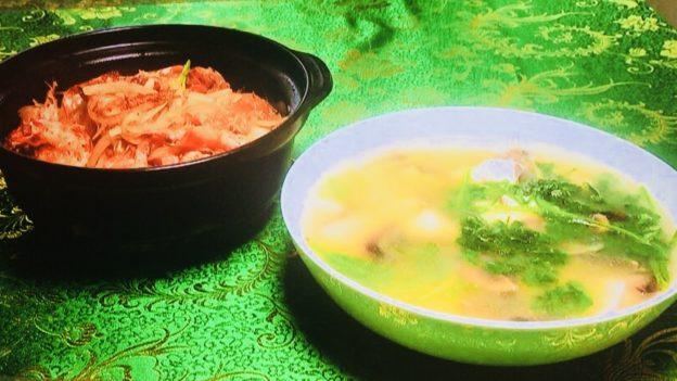 男子ごはんin香港!家庭料理2品パクチーとピータンスープとエビと春雨XO醤炒め