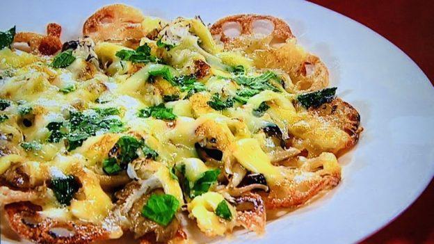 和牛水田の秋の旬の食材を使った友達ができるピザ「レンコンピザ」